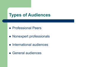 Types of Audiences Professional Peers Nonexpert professionals International audiences