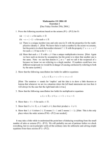 Mathematics 121 2004–05 Exercises 1 [Due Friday October 29th, 2004.]