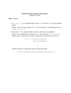 MA2224 (Lebesgue integral) Tutorial sheet 1 [January 22, 2016] Name: Solutions