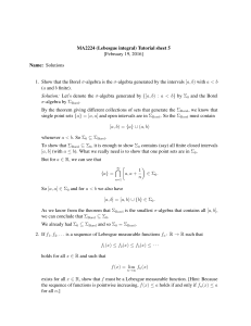 MA2224 (Lebesgue integral) Tutorial sheet 5 [February 19, 2016] Name: Solutions