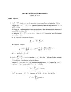 MA2224 (Lebesgue integral) Tutorial sheet 8 [March 18, 2016] Name: Solutions R