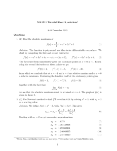 MA1S11 Tutorial Sheet 9, solutions 8-11 December 2015 Questions