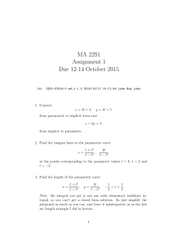 MA 22S1 Assignment 1 Due 12-14 October 2015