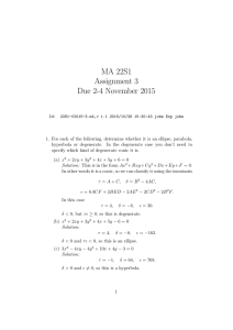 MA 22S1 Assignment 3 Due 2-4 November 2015