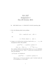 MA 2327 Assignment 3 Due 29 October 2015