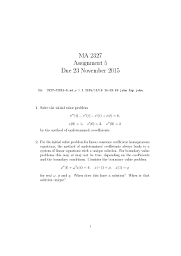 MA 2327 Assignment 5 Due 23 November 2015