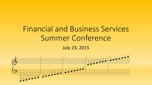 Financial and Business Services Summer Conference July 23, 2015
