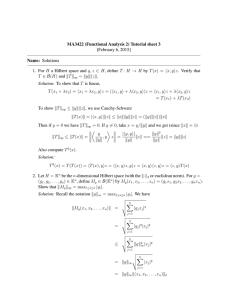 MA3422 (Functional Analysis 2) Tutorial sheet 3 [February 6, 2015] Name: Solutions