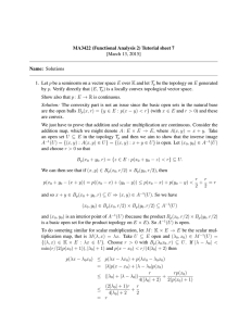 MA3422 (Functional Analysis 2) Tutorial sheet 7 [March 13, 2015] Name: Solutions