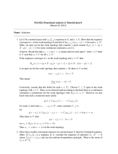 MA3422 (Functional Analysis 2) Tutorial sheet 8 [March 20, 2015] Name: Solutions