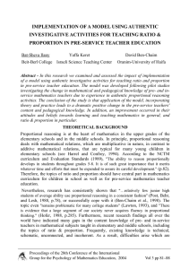 IMPLEMENTATION OF A MODEL USING AUTHENTIC PROPORTION IN PRE-SERVICE TEACHER EDUCATION