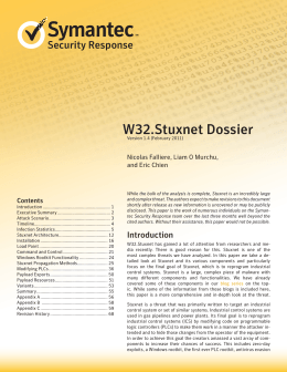 W32.Stuxnet Dossier Security Response Nicolas Falliere, Liam O Murchu, and Eric Chien