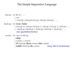 The Simple Imperative Language