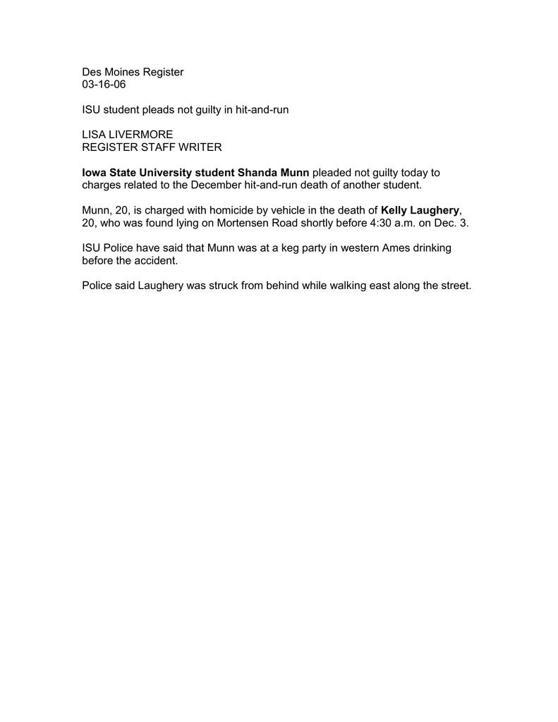 Des Moines Register 03-16-06 ISU student pleads not guilty