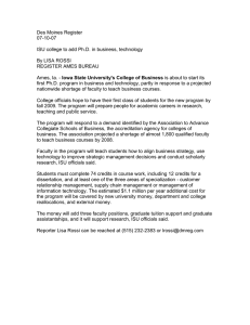Des Moines Register 07-10-07  ISU college to add Ph.D. in business, technology