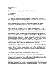 Gazette Online, IA 09-04-07  Culver introduces energy czar, Power Fund board members