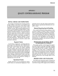 QUALITY CONTROL/ASSURANCE PROGRAM FM 10-15 APPENDIX F INITIAL CHECKS AND INSPECTIONS