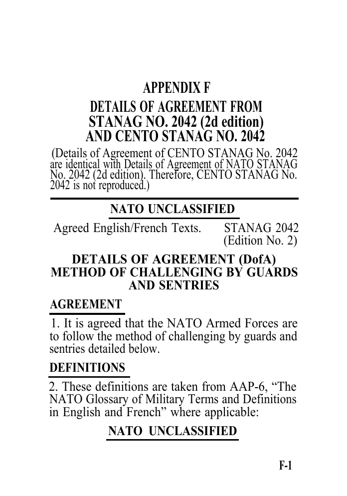 Appendix F Details Of Agreement From Stanag No 2042 2d Edition