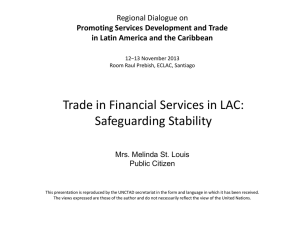 Trade in Financial Services in LAC: Safeguarding Stability Regional Dialogue on