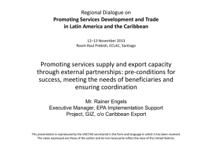 Promoting services supply and export capacity through external partnerships: pre-conditions for