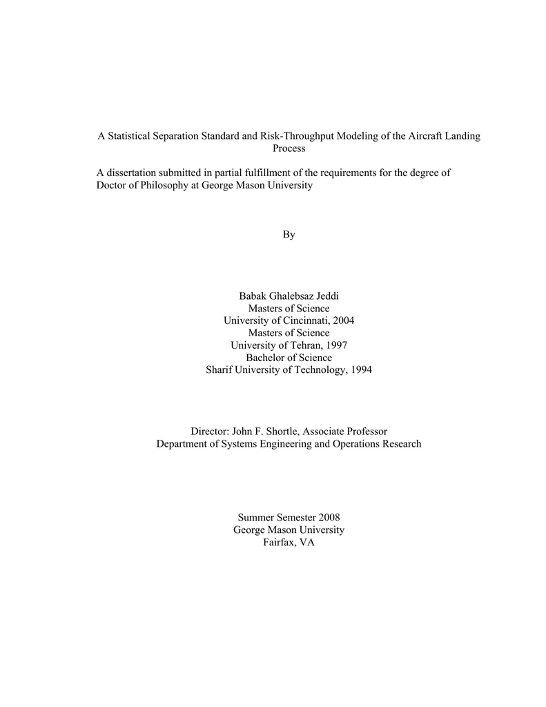 Dissertation statistical services gmu