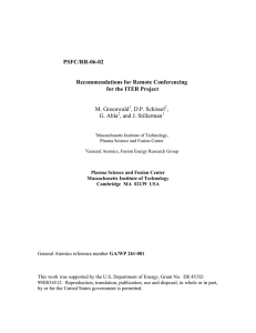 PSFC/RR-06-02 Recommendations for Remote Conferencing for the ITER Project