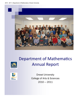 Department of Mathematics Annual Report Drexel University College of Arts & Sciences