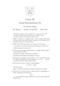 Course 424 Group Representations IIa Dr Timothy Murphy Joly Theatre