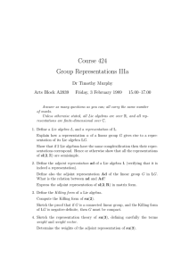 Course 424 Group Representations IIIa Dr Timothy Murphy Arts Block A2039