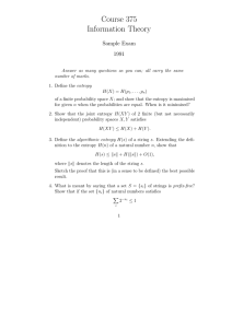 Course 375 Information Theory Sample Exam 1991