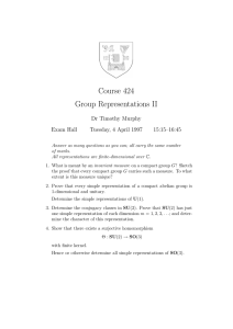 Course 424 Group Representations II Dr Timothy Murphy Exam Hall