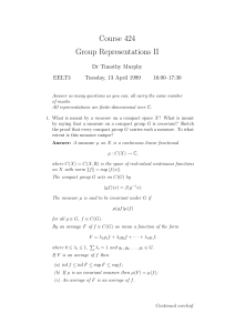 Course 424 Group Representations II Dr Timothy Murphy EELT3