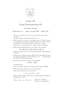 Course 424 Group Representations IIb Dr Timothy Murphy Mathematics 1.8