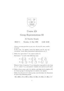 Course 424 Group Representations III Dr Timothy Murphy EELT 3