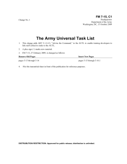 The Army Universal Task List FM 7-15, C1