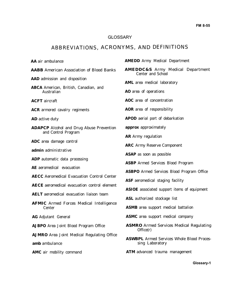 ACRONYMS AND DEFINITIONS ABBREVIATIONS GLOSSARY