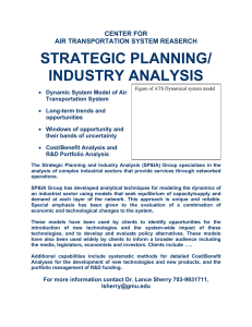 STRATEGIC PLANNING/ INDUSTRY ANALYSIS  CENTER FOR