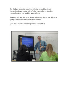 Dr. Richard Mezeske uses  Power Point to model a... instruction lesson on the role of prior knowledge in learning,