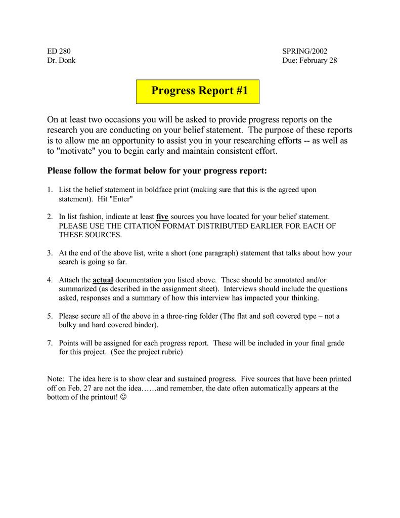 Writing progress reports