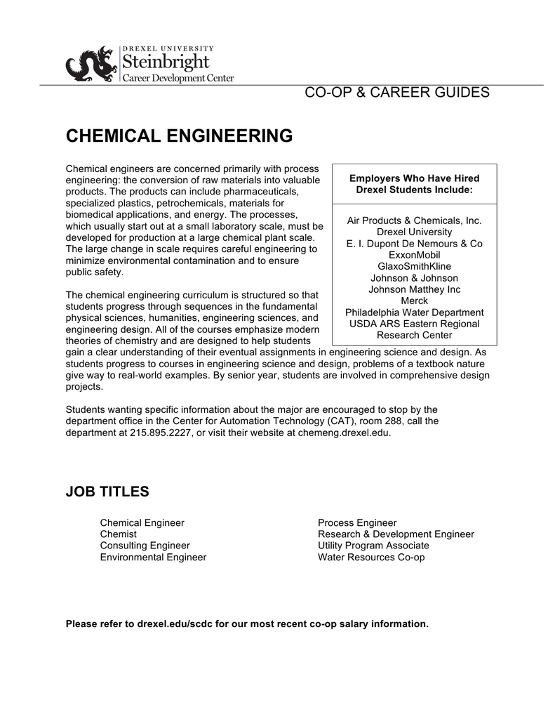 CHEMICAL ENGINEERING CO-OP &