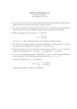 Maths 212, Homework #1 First four problems: due Thursday, Oct. 20 A