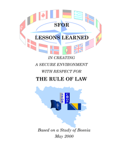 SFOR LESSONS LEARNED THE RULE OF LAW