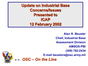 Update on Industrial Base Concerns/Issues Presented to ICAP