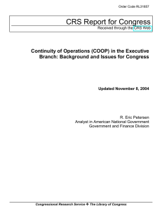 CRS Report for Congress Continuity of Operations (COOP) in the Executive
