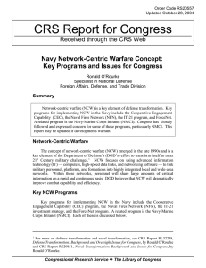 CRS Report for Congress Navy Network-Centric Warfare Concept: