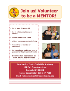 Join us! Volunteer to be a MENTOR!