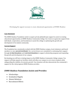 Developing the support necessary to create educational opportunities at ENMU-Ruidoso