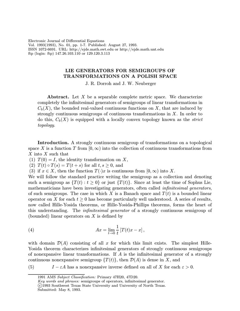 Generators of Strongly Continuous Semigroups