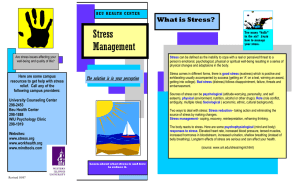 Stress Management What is Stress?