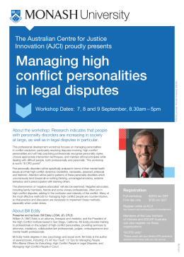 Managing high conflict personalities in legal disputes The Australian Centre for Justice